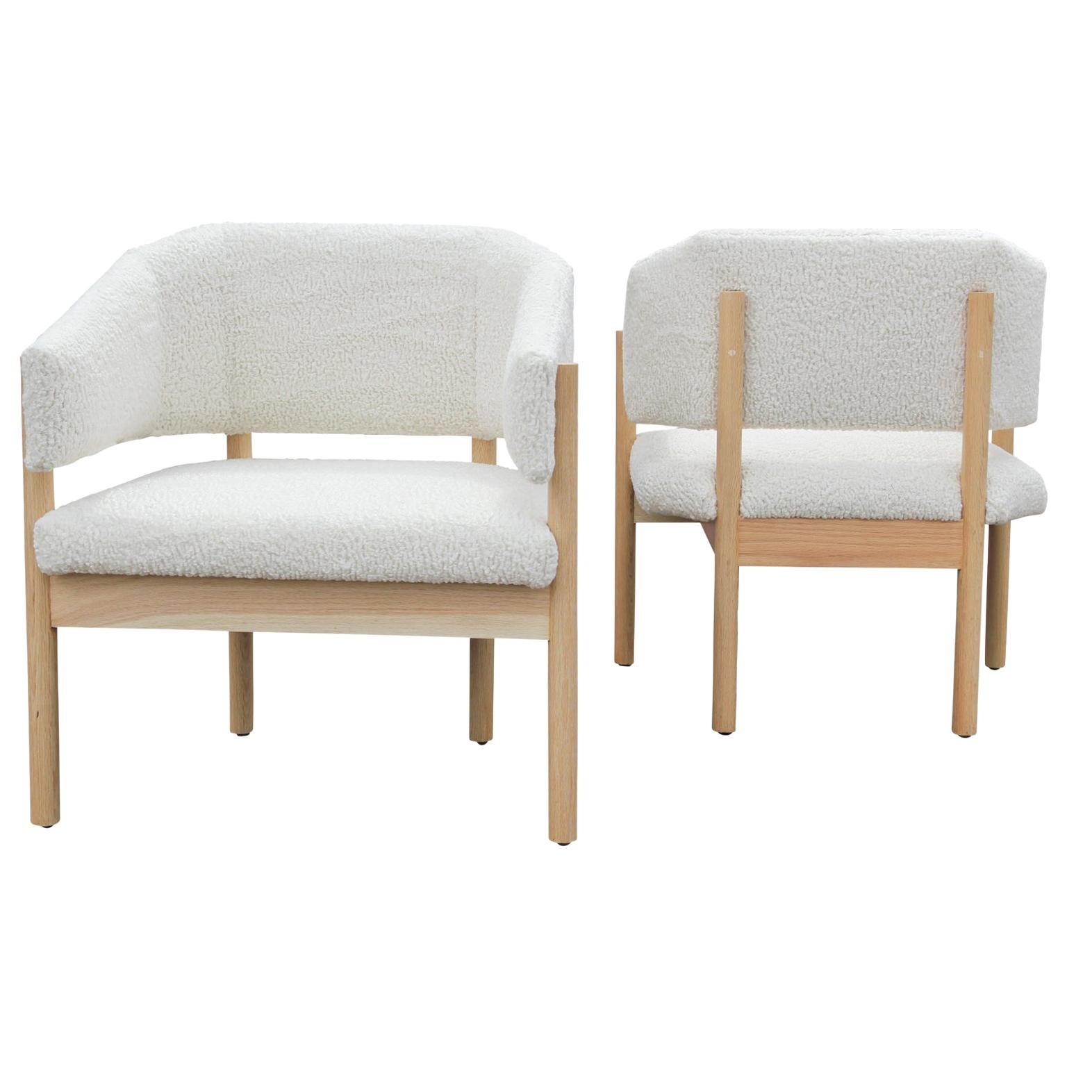 Pair of Custom Angular Post-Modern Shearling & Bleached White Oak Lounge Chairs