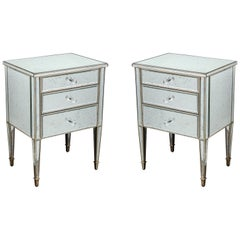 Pair of Antique Mirrored Nightstands with Silver Gilt Trim