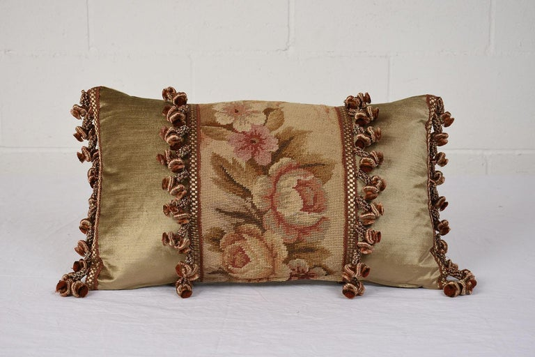 Aubusson Pair of Custom Antique Tapestry Accent Pillows For Sale