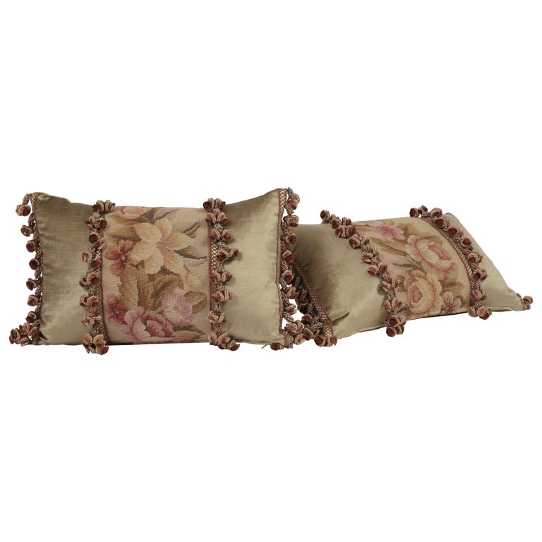 Pair of Custom Antique Tapestry Accent Pillows For Sale