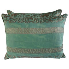 Pair of Custom Aqua Green Fortuny Pillows