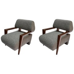 Pair of Custom Art Deco Midcentury Style Walnut Armchairs by Adesso Imports