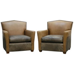 Pair of Custom Art Deco Style Leather Club Chairs