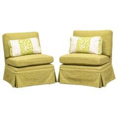 Pair of Custom Billy Baldwin Style Slipper Chairs for John Rosselli