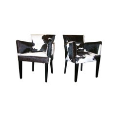 Pair of French Deco Style Cowhide Armchairs with Nailheads