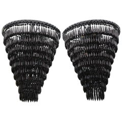 Pair of Custom Black Fringe Crystal Pendants