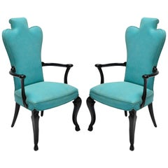 Pair of Custom Black Lacquer Armchairs in Turquoise Leather by Adesso Imports