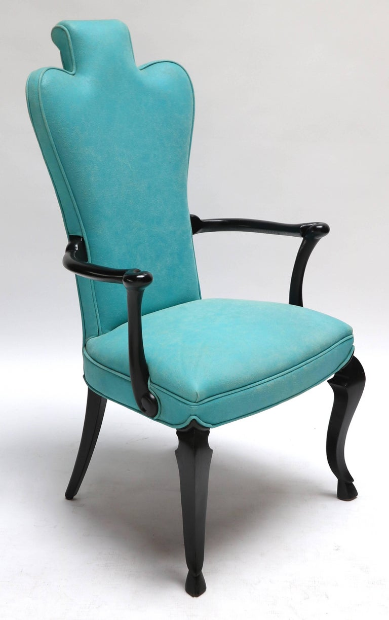 American Pair of Custom Black Lacquer Armchairs in Turquoise Leather For Sale