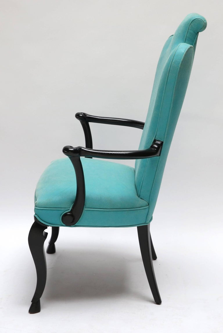 Lacquered Pair of Custom Black Lacquer Armchairs in Turquoise Leather For Sale