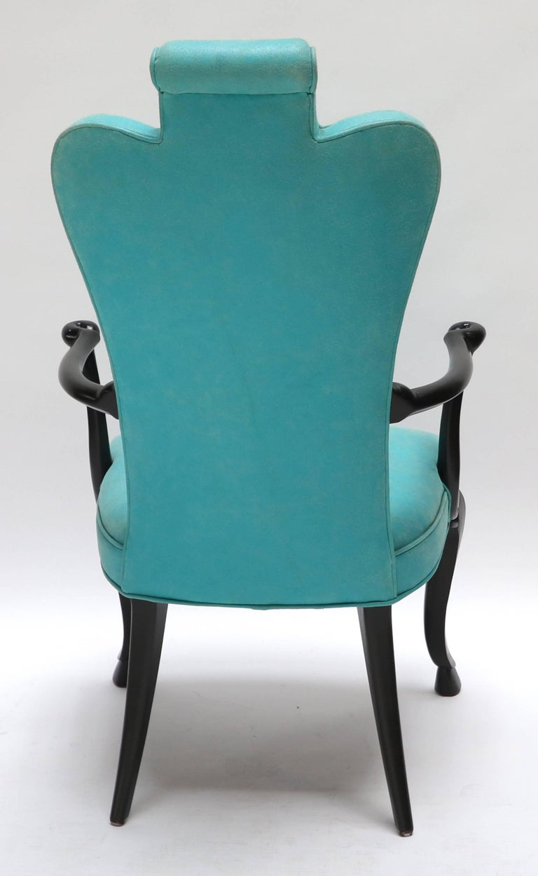 Pair of Custom Black Lacquer Armchairs in Turquoise Leather In Excellent Condition For Sale In Los Angeles, CA