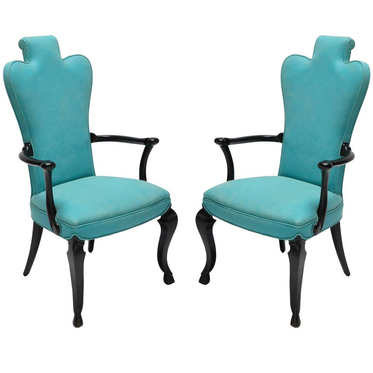 Pair of Custom Black Lacquer Armchairs in Turquoise Leather For Sale