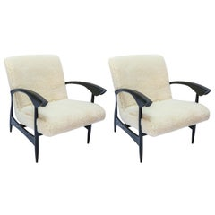 Pair of Custom Black Matte Oak Armchairs in Ivory Wool by Adesso Imports