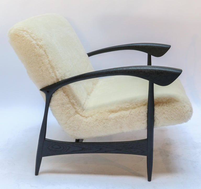 American Pair of Custom Black Matte Oak Armchairs in Ivory Wool by Adesso Imports For Sale