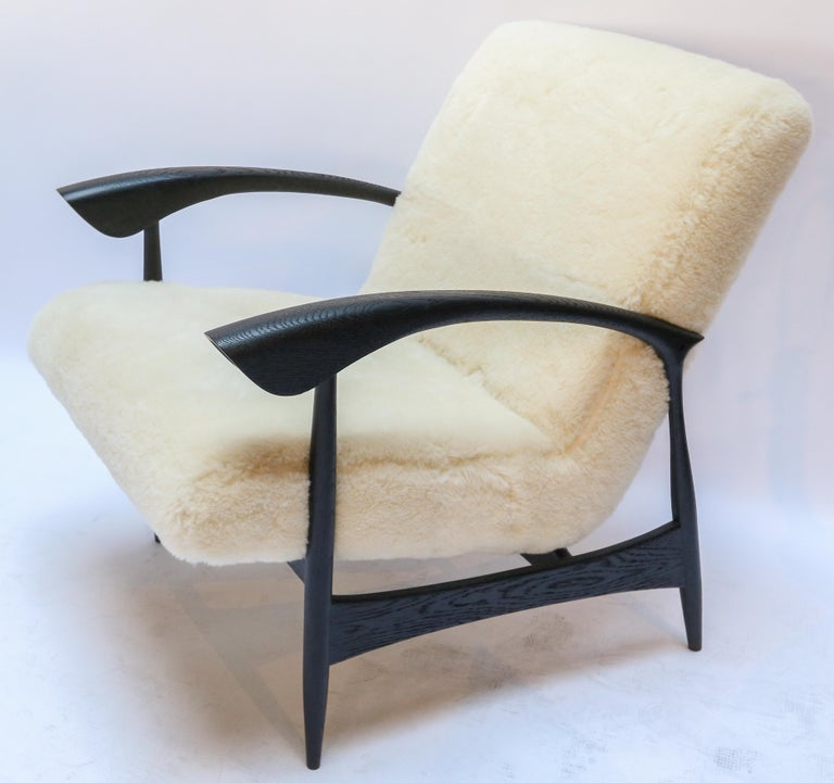 Contemporary Pair of Custom Black Matte Oak Armchairs in Ivory Wool For Sale