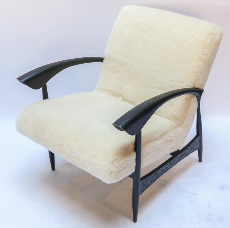 Pair of Custom Black Matte Oak Armchairs in Ivory Wool by Adesso Imports For Sale 1