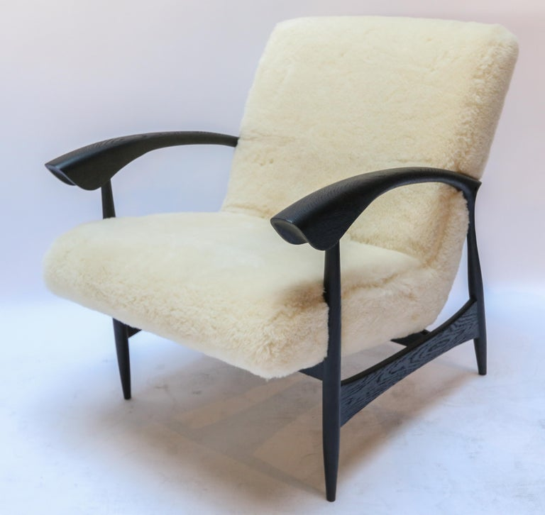 Pair of Custom Black Matte Oak Armchairs in Ivory Wool by Adesso Imports For Sale 2