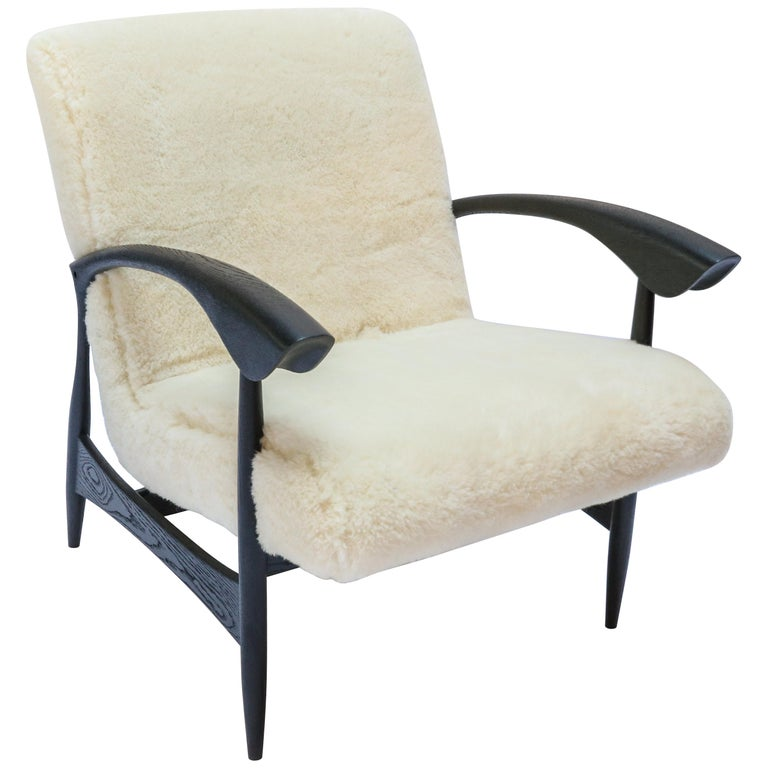 Pair of Custom Black Matte Oak Armchairs in Ivory Wool by Adesso Imports For Sale
