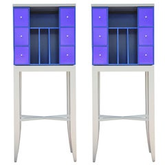 Pair of Custom Blue and Grey Industrial Postmodern Cabinets / Display Cases
