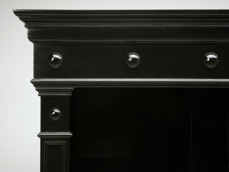 Country Pair of Custom Bookcases Black Hand Painted Finish in Any Dimension or Finish For Sale