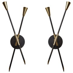 Pair of Custom Brass and Bronze Sconces Inspired by Midcentury Design