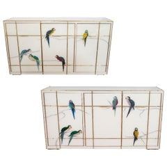 Pair of Custom Brass Bamboo Inlay and Murano Glass Parrot Sideboard, Italy