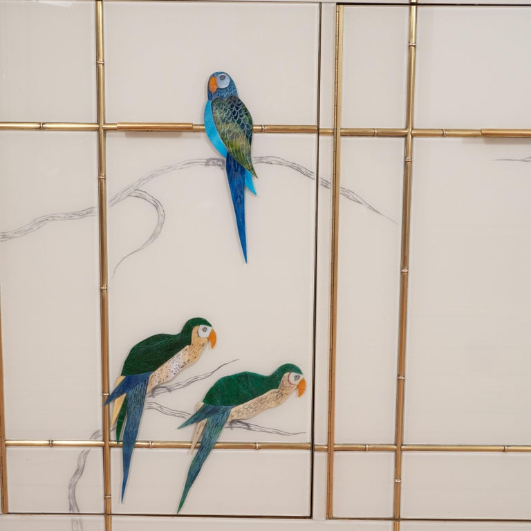 Pair of Custom Made Brass Bamboo Inlay and Murano Glass Parrot Sideboards, Italy For Sale 3