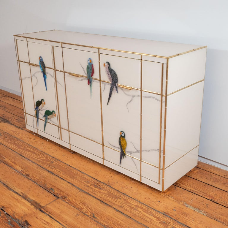 Pair of Custom Made Brass Bamboo Inlay and Murano Glass Parrot Sideboards, Italy For Sale 4