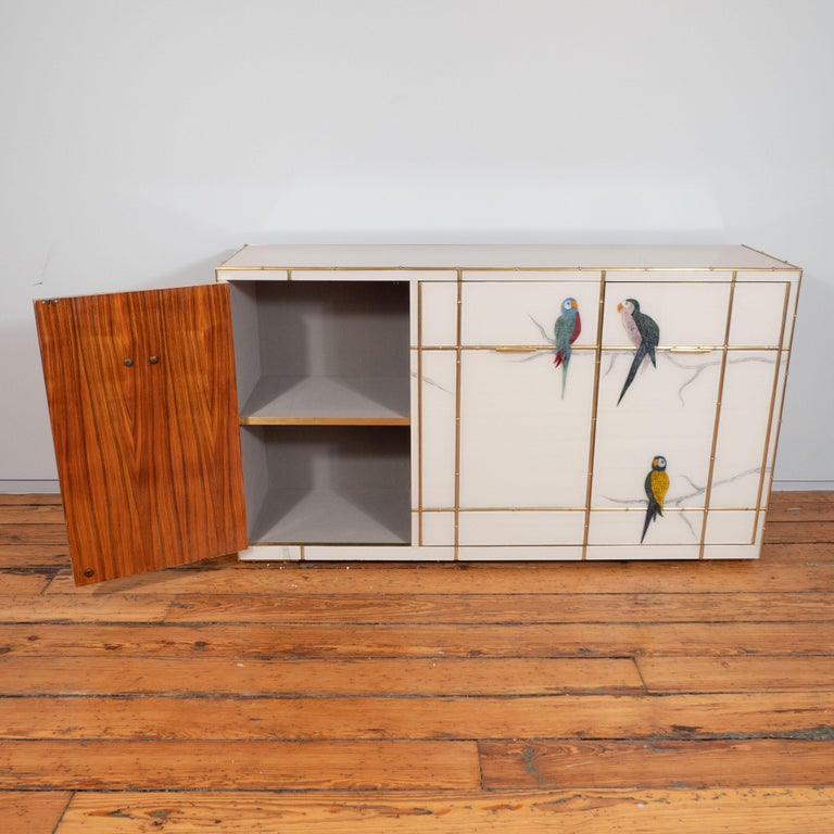 Pair of Custom Made Brass Bamboo Inlay and Murano Glass Parrot Sideboards, Italy For Sale 10