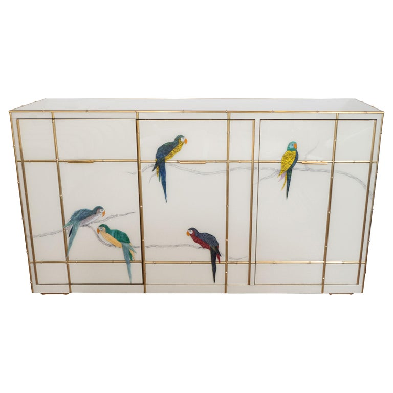 Hollywood Regency Pair of Custom Made Brass Bamboo Inlay and Murano Glass Parrot Sideboards, Italy For Sale