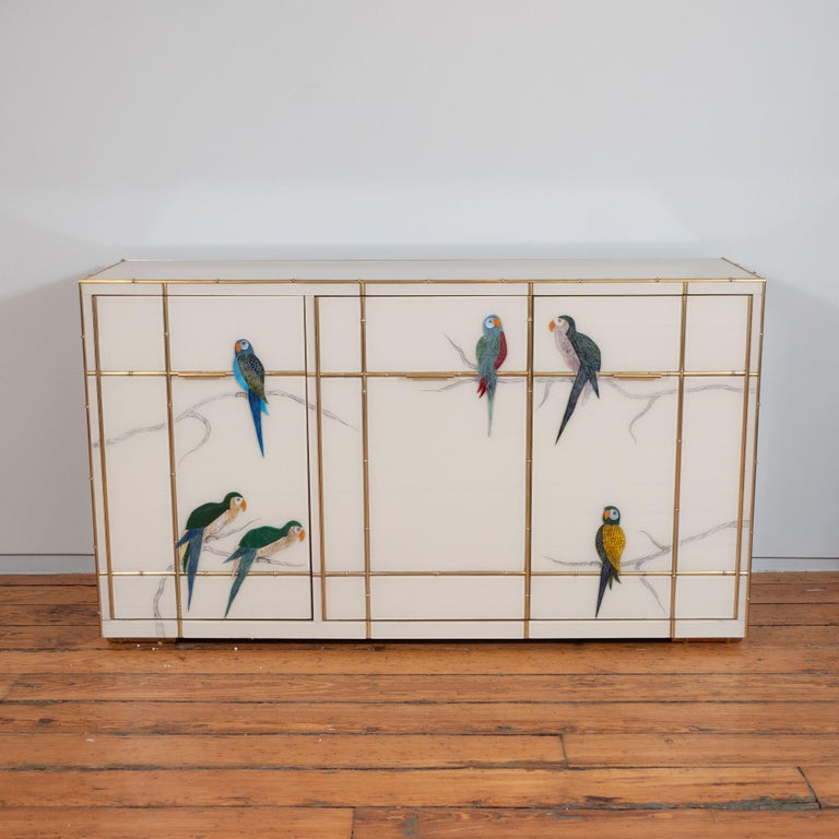 Italian Pair of Custom Made Brass Bamboo Inlay and Murano Glass Parrot Sideboards, Italy For Sale