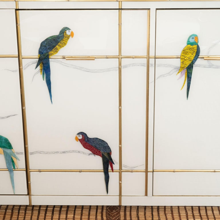 Pair of Custom Made Brass Bamboo Inlay and Murano Glass Parrot Sideboards, Italy In New Condition For Sale In New York, NY