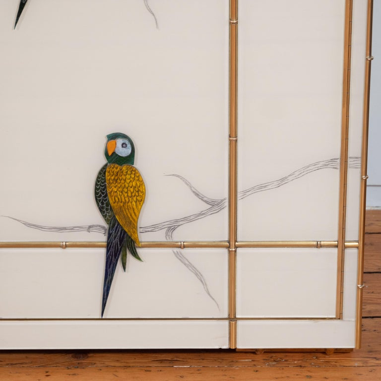 Contemporary Pair of Custom Made Brass Bamboo Inlay and Murano Glass Parrot Sideboards, Italy For Sale