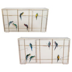 Pair of Custom Brass Bamboo Inlay and Murano Glass Parrot Sideboard, Italy, New