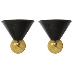 Pair of Custom Brass Sconces Inspired by Midcentury Design