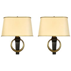 Pair of Custom Bronze Sconces in the French 1940s Manner