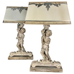 Pair of Custom Cherub Lamps with Hand Painted Parchment Shades