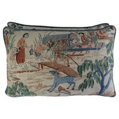 Pair of Custom Chinoiserie Printed Linen Pillows