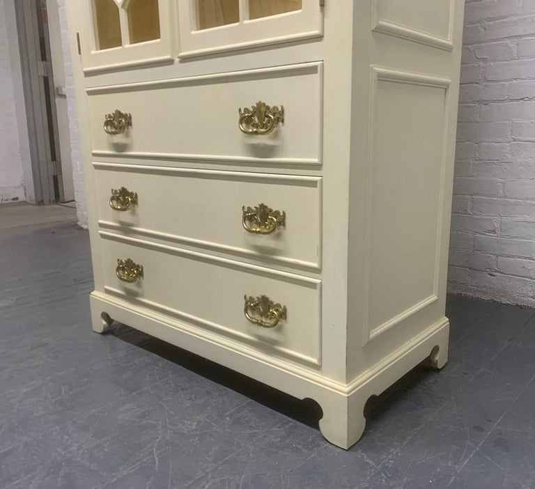 Wood Pair of Custom Chinoiserie Style Cabinets For Sale