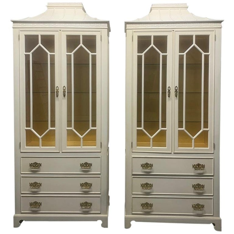 Pair of Custom Chinoiserie Style Cabinets For Sale