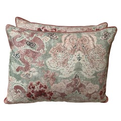 Pair of Custom Chinoiserie Style Printed Cotton Pillows by Melissa Levinson