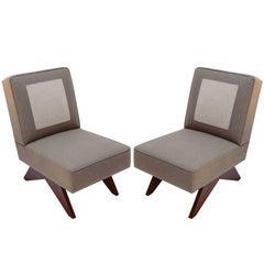 Pair of Custom Club Slipper Chairs