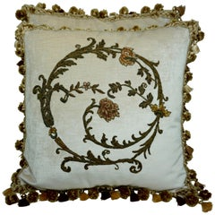 Pair of Custom Cream Velvet Applique' Pillows by Melissa Levinson