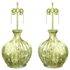 Pair of  custom Created Kabibe shell style lamps.