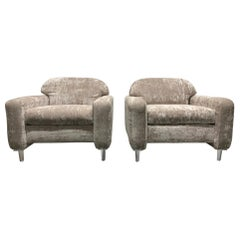 Pair of Custom Design Lounge Chairs in Velvet with Lucite Legs
