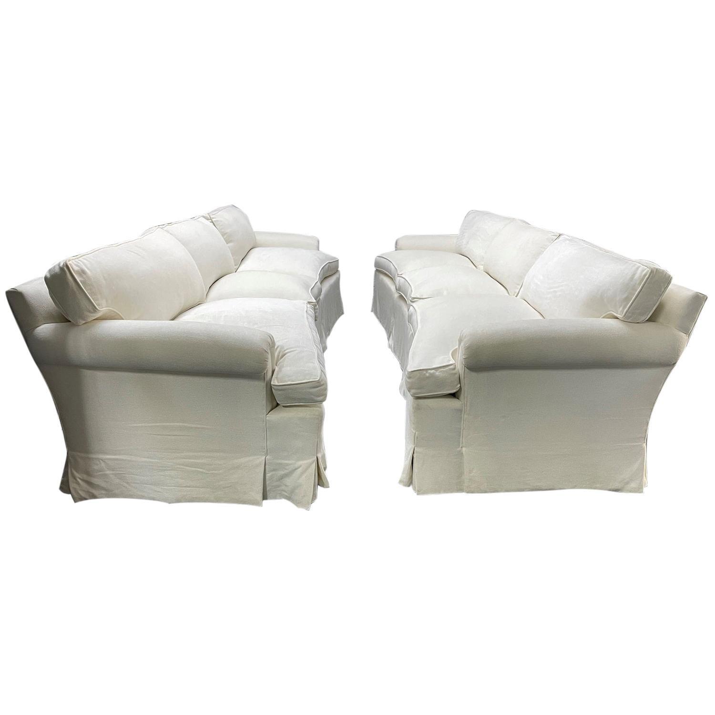 Pair of Custom Design Three-Seat Down Cushioned Sofa