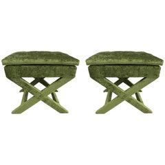 Pair of Custom Design X Benches