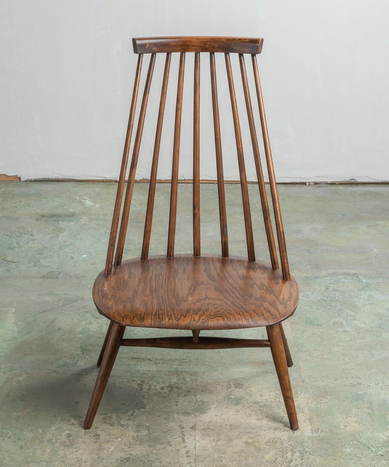 Pair of Custom Designed Modern Spindle Back Chairs, America, circa 1960 In Good Condition For Sale In Culver City, CA