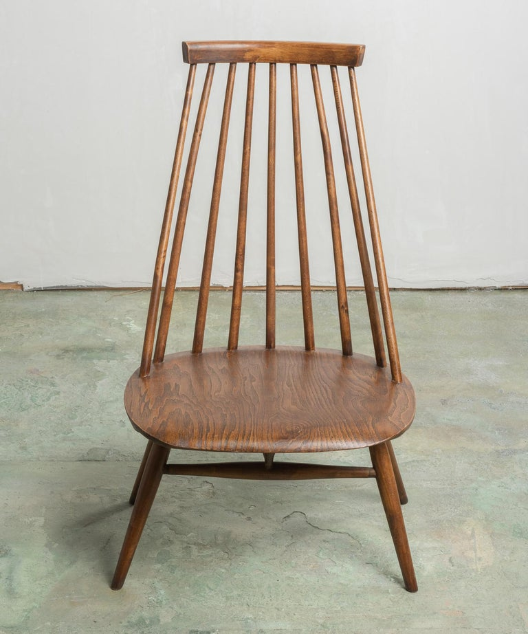 Pair of Custom Designed Modern Spindle Back Chairs, America, circa 1960 For Sale 2