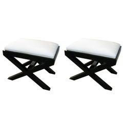 Pair of Custom Ebonized X-Frame Benches