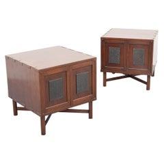 Pair of Custom Edward Wormley Japanese Print Block Nightstands/End Tables